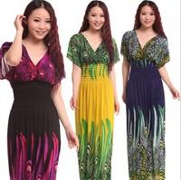 Wholesale 2014 NEW PEASANT SUN LONG MAXI BOHO HIPPIE GYPSY CASUAL Batwing Sleeve Beach DRESS S M L
