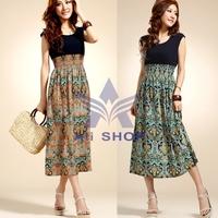 Brand New 2014 Summer Womens Cotton Chiffon Vintage Sleeveless Bohemian High Waist Long Dress Ladies Fashion Maxi Dresses 5681