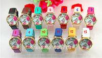 550pcs/lot Freeshipping new arrive fashion hot sales GENEVA flower watches, precise quartz movement,pu leather band