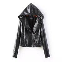 Retail 2014 New Fashion Slim PU Women Leather Jacket & Long Sleeve Hooded Women Short Coats 14904