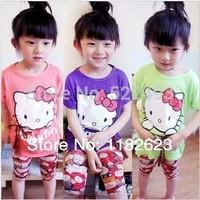 Free shipping NEW 2014 summer children dress cute girl hello kitty summer dresses kids cartoon clothes clothing Girl mini dress