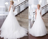 qn-16 new sexy elegant beads crystal appliques cap sleeve close back long train floor length wedding dress 2014