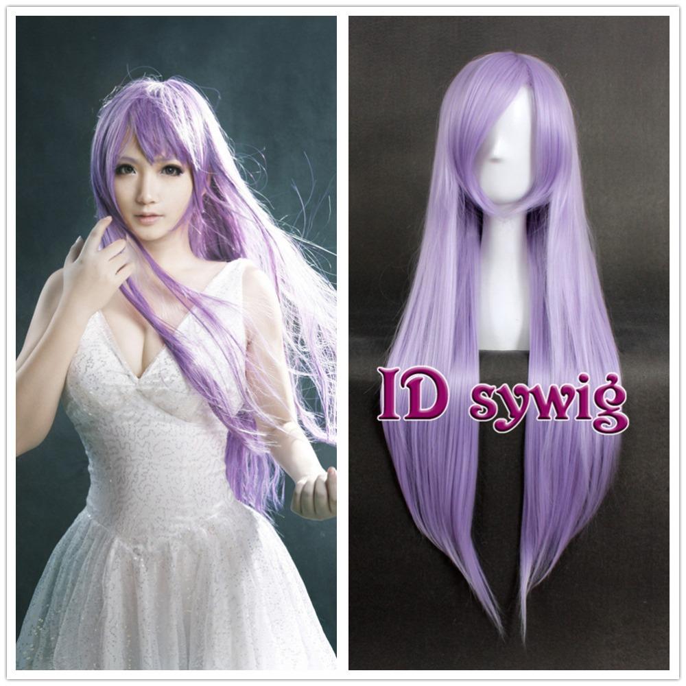 Free Shipping 80cm Long Straight Saori Kido Athena Light Purple Anime Cosplay Wig +a wig cap(China (Mainland))