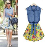 2014 Summer Women Clothes Denim Chiffon Sleeveless Vintage Dress Flower Print Casual Party Bohemia Dresses With Bow Belt