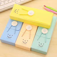 Cute smile PVC pencil box/pen case wholesale stationery buckle elastic band candy-colored Free shipping OF001