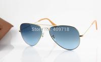 2014 New Fashion Sunglass Brand Sunglass Men's/Women's Designer 001/3F Metal Sunglass Gold Frame Blue Gradient Lens 58mm Box