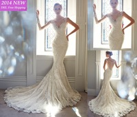 2014 Designer Elegant Lace Mermaid  Wedding Dresses Deep V Neck Open Back With Beading Lace Bridal Gown Custom-made