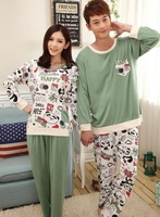 Long Sleeve Casual Homewear for Men Women Knitted Cotton Pajama Sets Patchwork Couple Sleepwear Cartoon Unisex's Indoor Clothing