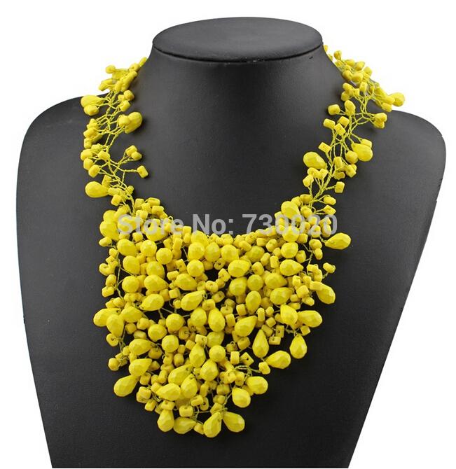 Nouvelle marque za la main de mode acrylique perles colliers plastron déclaration& pendentifs bijoux pour les femmes
