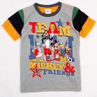 New Kids Summer 2014 Fashion Cartoon Printed Cotton T-shirt Round Neck Short-Sleeved Striped T-shirt