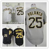 Baseball Jerseys Gregory Polanco #25 White,Black,Gray Coolbase Baseball Jersey size:48~56+Mix Order,Free Shipping