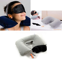 U neck pillow travel pillow Flight Car Pillow Inflatable pillow Neck U Rest Air Cushion+ Eye Mask + Earbuds Free Shipping