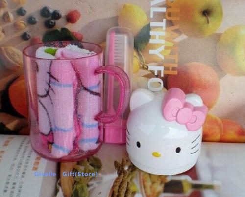 Kawaii Wash Cup Desgin - Hello Kitty Size 12.5CM Outdoor Plastic Bathroom Set : Cup Water Mug ; KID Towel + Teethbrush + Cup(China (Mainland))