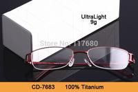New 2014 Arrival High Quality Eyeglasses Brand CD Women Pure Titanium Eyeglasses Optical Frame Half Eyeglasses Frame Ultra Light