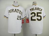 Baseball Jerseys Gregory Polanco #25 White 2013 Alternate 2  Coolbase Baseball Jersey size:48~56+Mix Order,Free Shipping