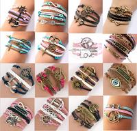 Sunshine jewelry store Womens Bracelets Fashion Vintage all-match Rudder Rectangle Leather Bracelet Multilayer Bracelets