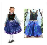 1pcs Retail Hot Frozen Queen Girl Anna Elsa Dressing Princess TUTU Dress For 3-7 Year Kid Girl