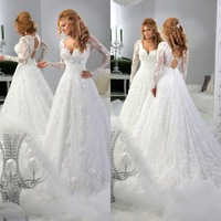 Custom made sexy sweetheart special back hollow long sleeves wedding dresses elegant beautiful A-line lace appliques long gowns