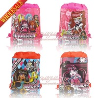 New Designs,12pcs 35*27CM Non-woven Monster High backpack without handle<Cartoon Drawstring Backpack Bags<Kids School Bags