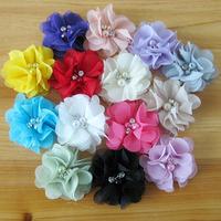 40pcs 14 colors baby girl rhinestone pearl center handmade chiffon flower accessories for the hair decoration headband ornament