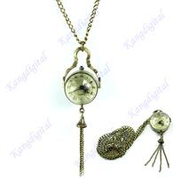 D19+Free Shipping Antique Vintage Glass Ball Bull Eye Necklace Pendant Chain Quartz Pocket Watch