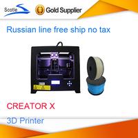 Free Shipping Dual Extruder 3d Printer Creator X Works with ABS Metal Frame Flashforge metal diy 3D printer