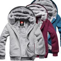 Spring Winter New Men's Plush Thick Warm Hoodies Overcoat Winter Coat Fleece & Men's Plus Size 3XL Cotton Padded Jacket Hot Sale