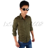 Men's Solid Color M Formal Casual Party Dress Shirts With Long Sleeve Army Green