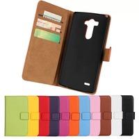 11Color,Genuine Leather Wallet Stand Flip Case For LG G3 D855 Mobile Phone Bag Cover with Card Holder Black