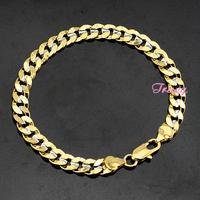 7mm Men's Bracelets Womens 18K Silver Yellow Gold Filled Curb 8inch Bracelet Bangles