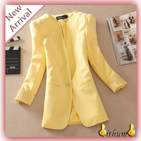 Jackets women clothes rivets Coat Comfortable leisure slim Wild suit jacket lady Yellow blazer feminino costume for women