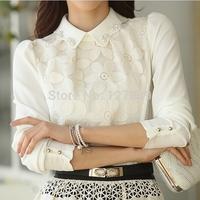 2014 spring women work wear peter pan collar slim patchwork lace blouse plus size sweet chiffon shirt basic shirt