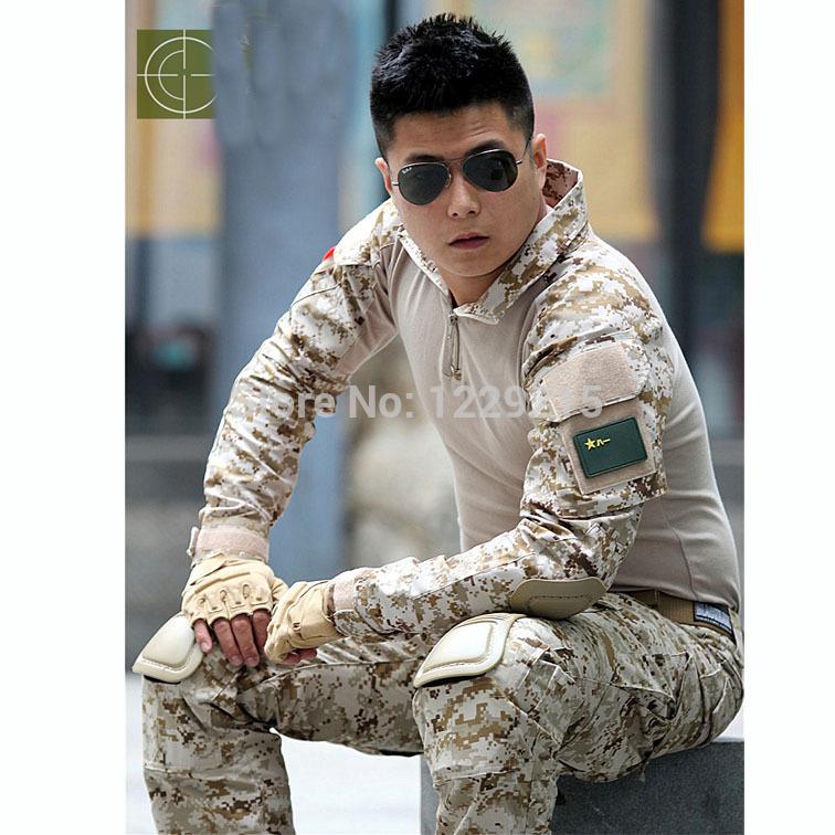Digital desert 3AT-FG frog tactical camo suit (SHIRT+PANTS+pads) Airsoft uniform BDU USMC FROG Navy seals combat frog suit(China (Mainland))