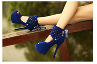 Hot sale!2014 new spring autumn ultra high heels platform open toe   print horsehair bandage two ways shoes women's pumps75