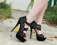 Free shipping women sandals  new Elegant luxury rhinestone sexy waterproof high-heeled sandals
