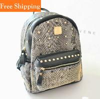 2014 Spring Kpop EXO Korean Black Mini Rivet Backpack Pu Leather Snake Zebra-Stripe Print Backpacks Rivet Schoolbag Shoulder Bag