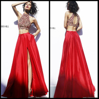 Two piece Sexy Halter Delicate Crystal Beaded Red Taffeta Ruffles Side Slit Formal Long Prom Dress 2014