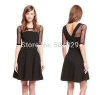 New Women Simple A-Line Mini Dress Mesh Half Sleeve Ladies Summer Brief Dress Lace Shoulder  Perspective Material Black Dresses