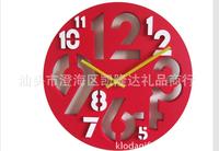 10pcs/lot free shipping fashion color digital wall clock creative clock/hollow out wall clock sitting room lie 3 d clock 3colors