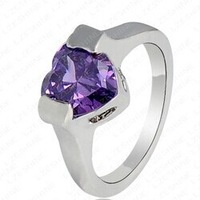 18K White Gold plated stone rings for woman Luxury fashion wedding rings with top quality red/purple stone FREE SHIPPING