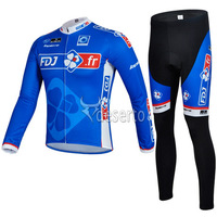 free shipping discount FDJ fr blue 2014 Team Long Sleeve Cycling Jersey + Pants/Bicycle Wear/Biking Clothes