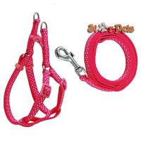 Dots Print Nylon Dog Pet Harness & Walking Leash Set Variety of Colors S\M\L\XL