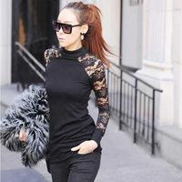 Hitz Korean temperament elastic gauze stitching lace long-sleeved t-shirt Slim mesh lace blouses