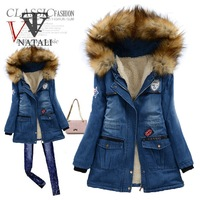 2014 winter  new woman   long design big faux fur hooded  warm  denim cotton  coat  slim  winter  jeans  cotton  coat  C063