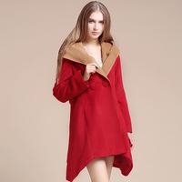 European style woolen coat women 2014new winter woolen coat solid color irregular big personality outside of it