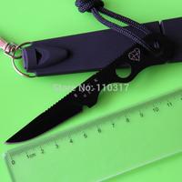 DOUG HARTSOOK Ultralite/Smidgen fixed blade knife,black coated,ABS sheath W/ emergency whistle, key ring, free shipping