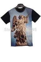 New 2014 Fashion Women /  Man Angle Print Short Sleeve Tee  New Novelty  T Shirt ,Free Shipping