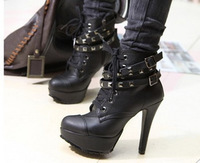2014 autumn Korean fashion style women belt buckle waterproof thin high-heeled fashion black shoes ankle rivet boots