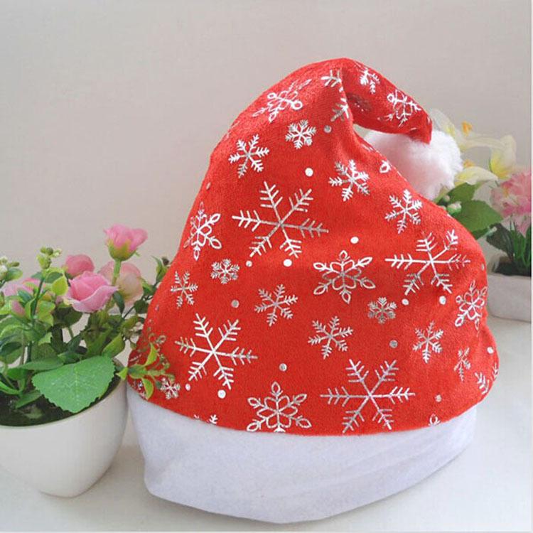 1pcs Beatiful Gift Christmas hat Red Snowflake Decoration Christmas hats Decor Cheap For Wholesale(China (Mainland))