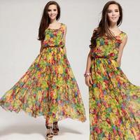 Vestidos Free Shipping Long Dresses Empire Worsted Beach None Color Sleeveless Bohemian Slim Women Dress 2014 New Wear Hot Sale